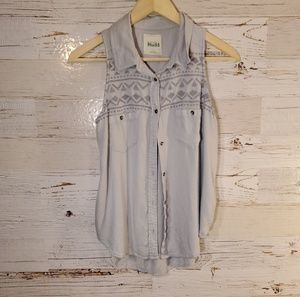 MUDD full button embroidery tank